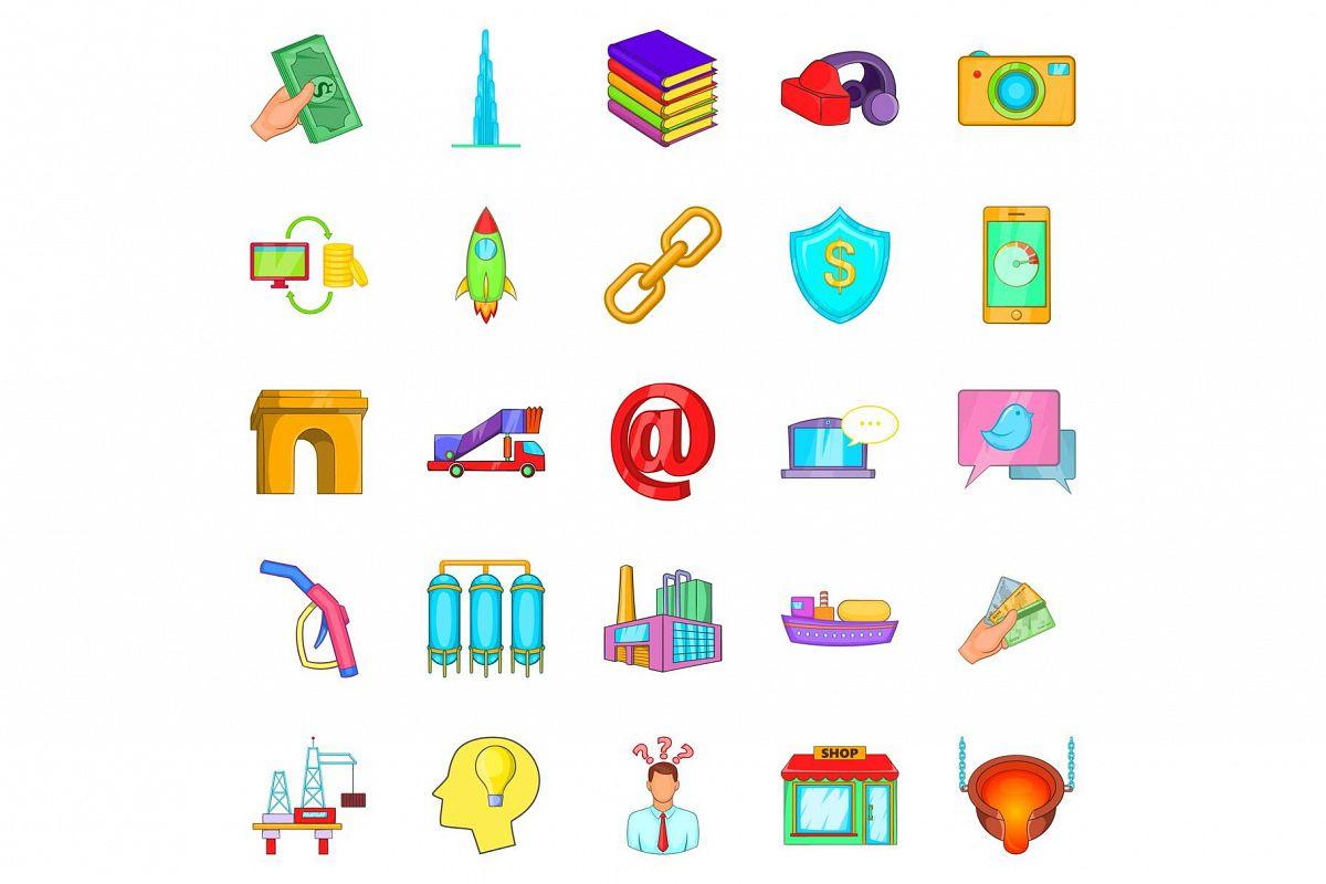 Wage icons set, cartoon style example image 1