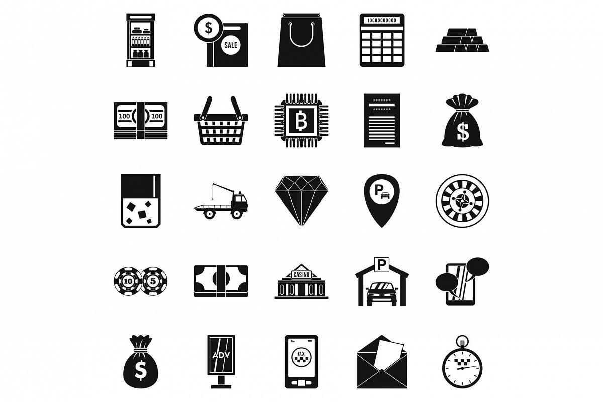 Hard cash icons set, simple style example image 1