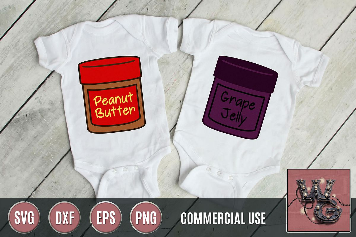 Peanut Butter Grape Jelly SVG DXF PNG EPS Comm example image 1
