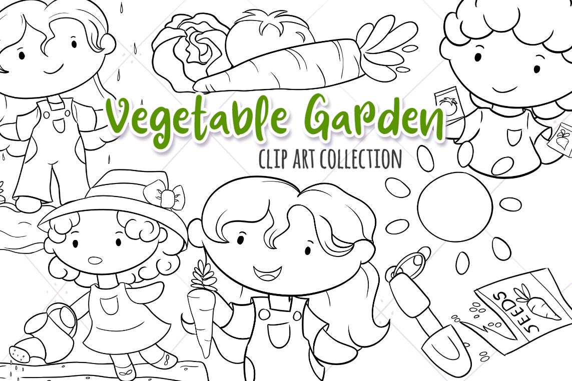 Growing a Vegetable Garden Digital Stamps example image 1