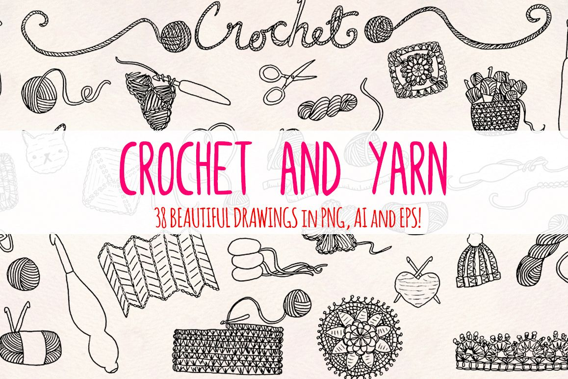 33 Crochet and Yarn Sketch Graphics Kit example image 1