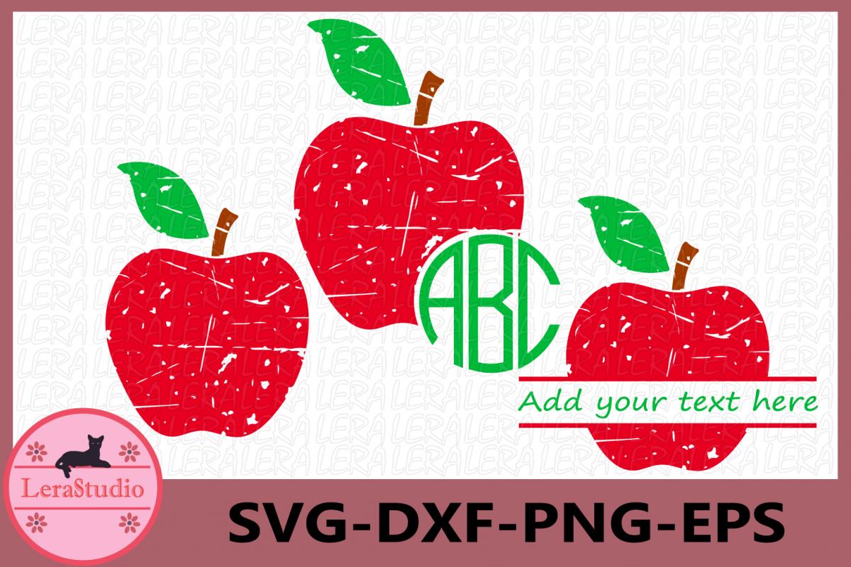 Apple SVG, Monogram Apple SVG, Apple Grunge Svg example image 1