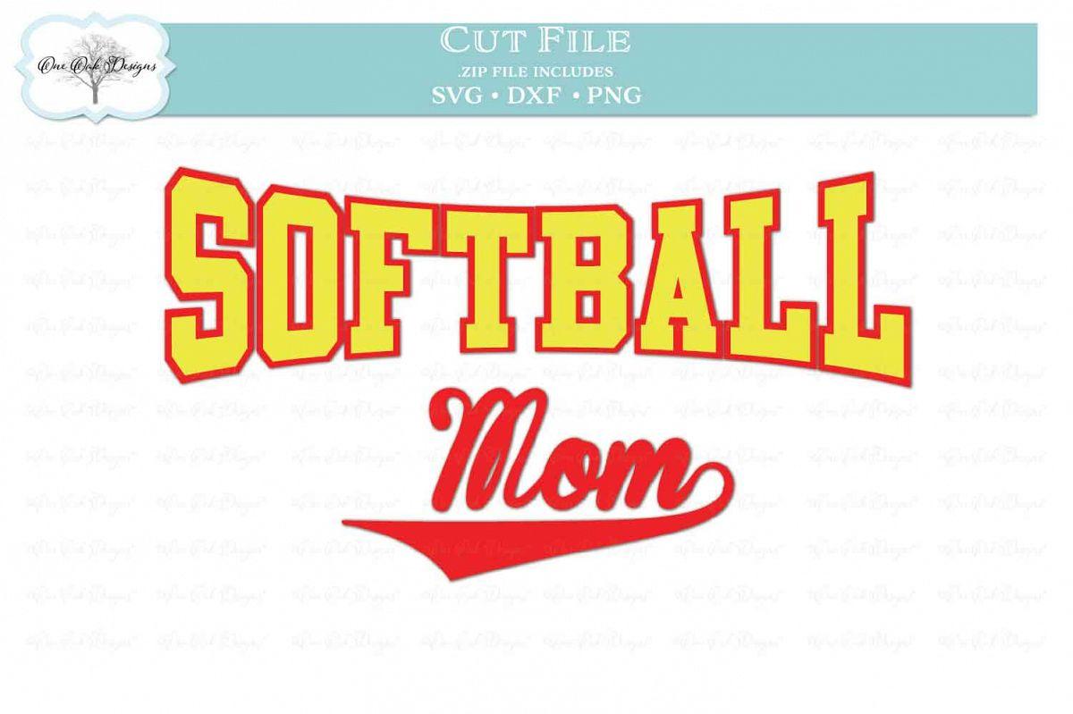 Softball Mom - SVG DXF PNG example image 1