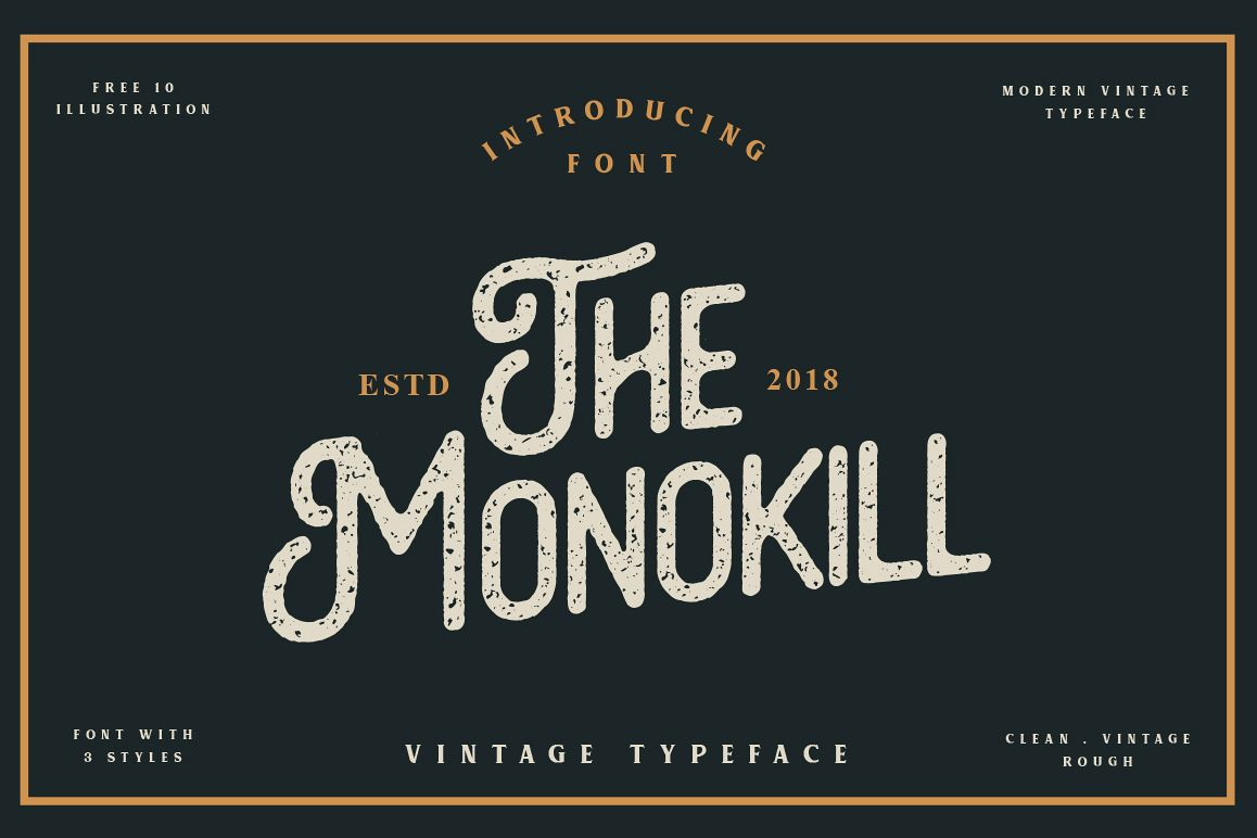 The Monokill - 3 Font With Extras example image 1