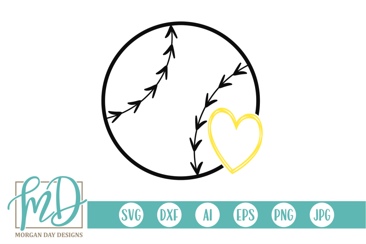 Softball with Heart SVG, DXF, AI, EPS, PNG, JPEG example image 1