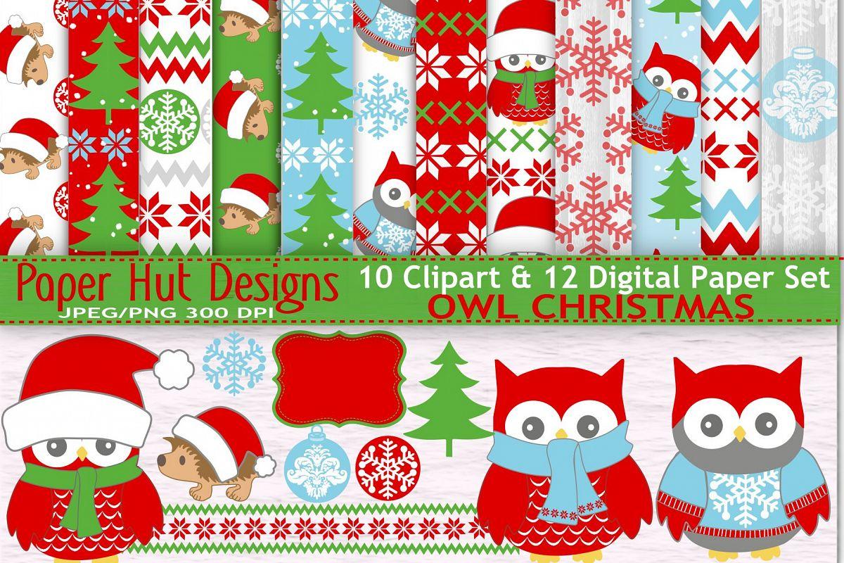 Christmas Owl.Christmas Owl Clipart And Digital Papers Set