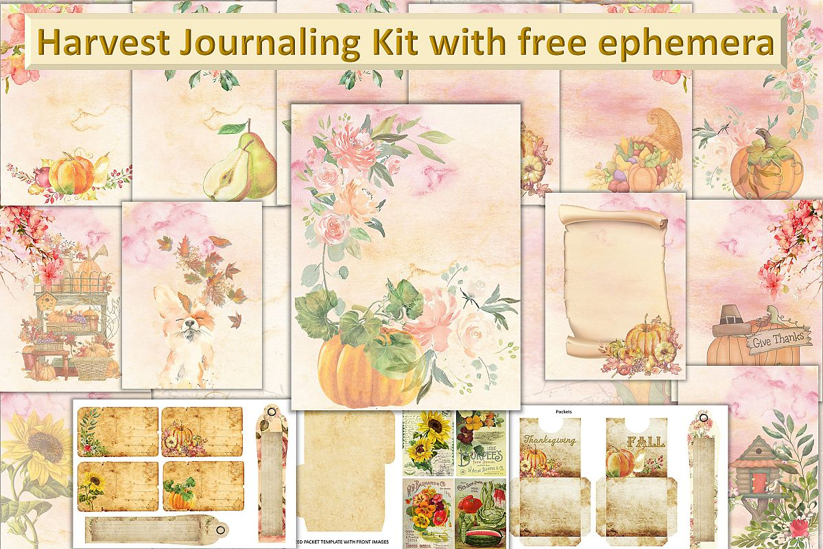 Fall Autumn Harvest Journaling kit with free ephemera CU example image 1