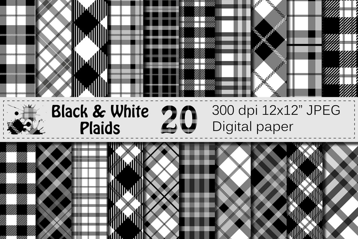 Black and White Plaids Digital Paper Set example image 1