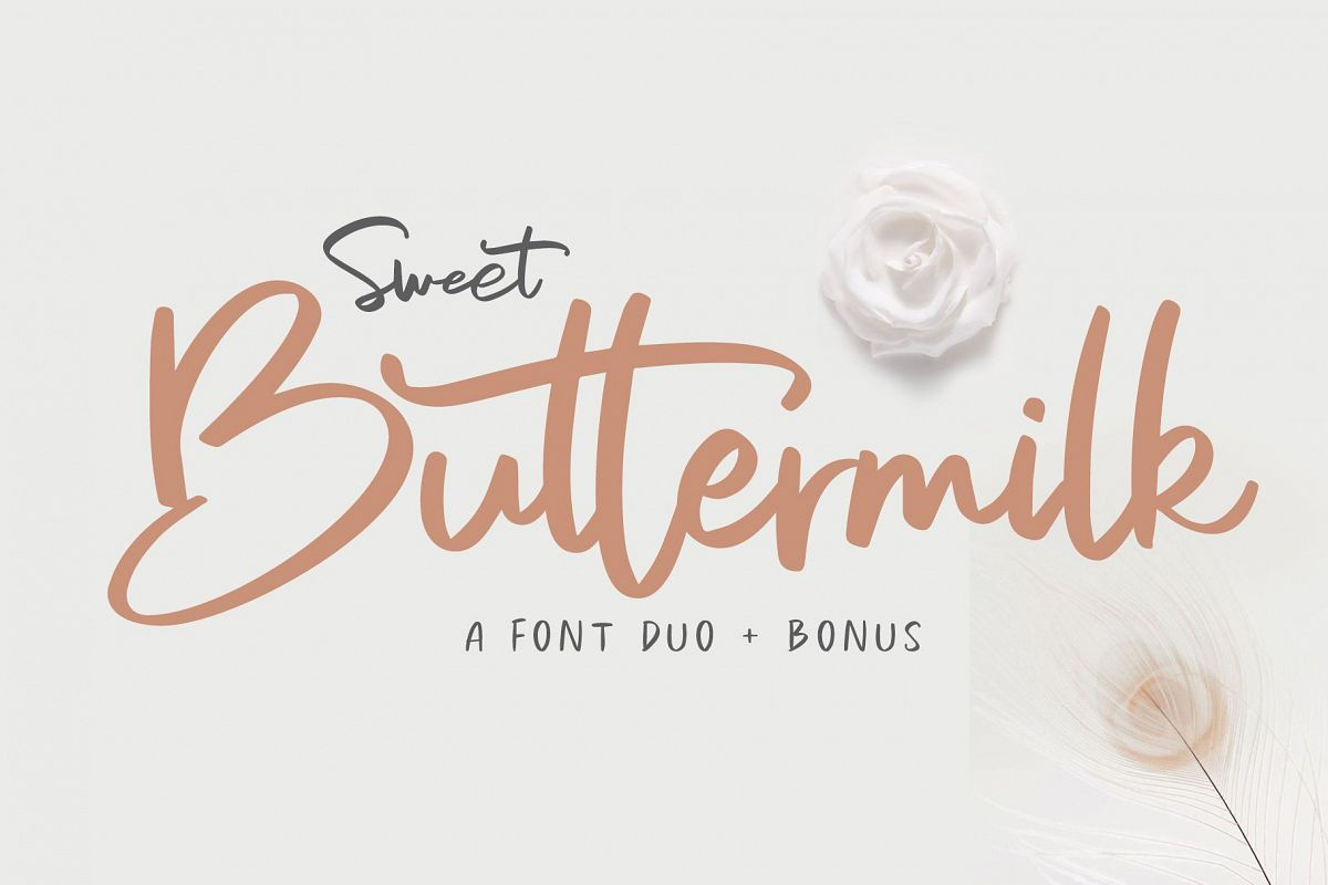 Sweet Buttermilk - Font Duo with Bonus example image 1