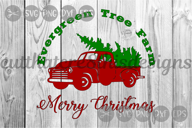 Pick Up Truck, Merry Christmas, Tree Farm, Cut File, SVG. example image 1