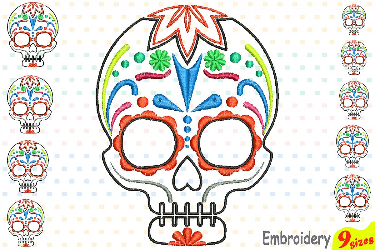 Cinco De Mayo Embroidery Design Instant Download Commercial Use digital file 4x4 5x7 hoop Machine icon outline Fiesta Mexico skull 199b example image 1