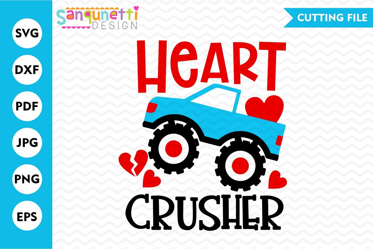 Heart Crusher monster truck SVG, boys Valentine cutting file example image 1