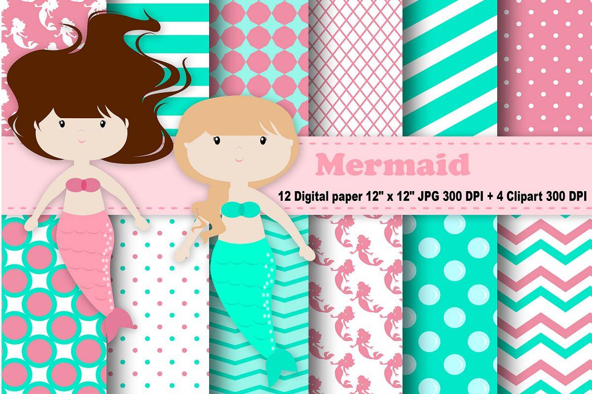 Mermaid Digital Paper Bubbles Background Sea Pattern Girls