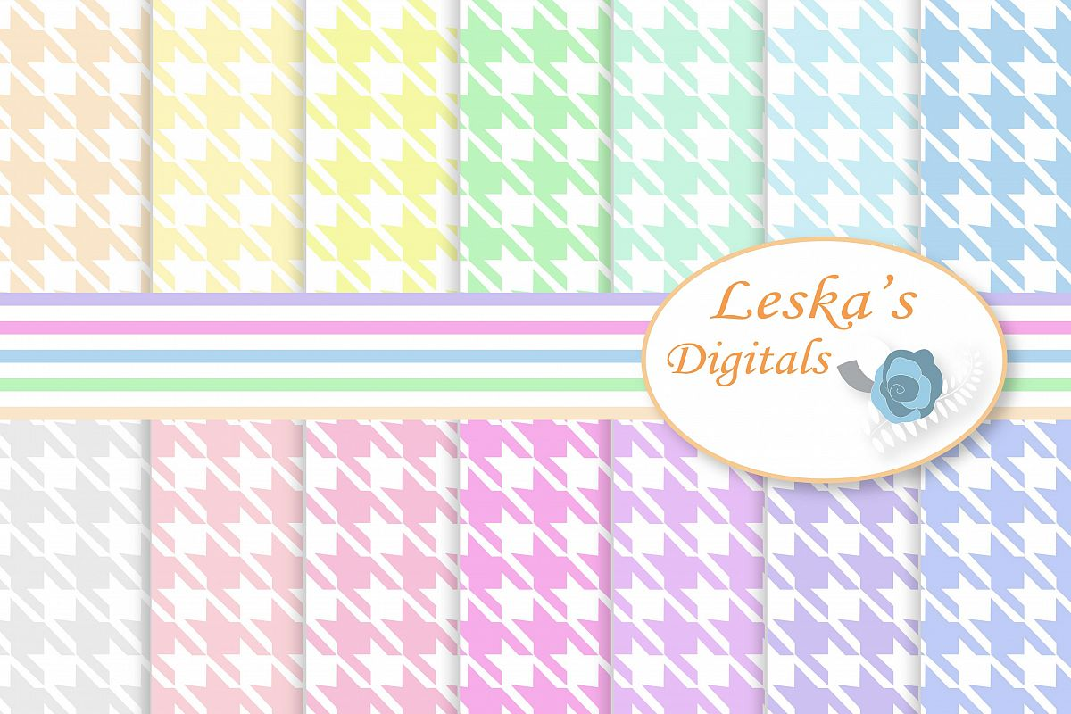 Pastel Houndstooth Digital Paper example image 1