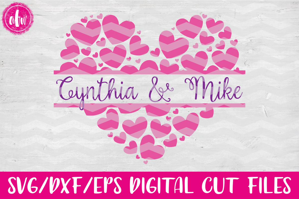 Valentine Split Heart - SVG, DXF, EPS Cut File example image 1
