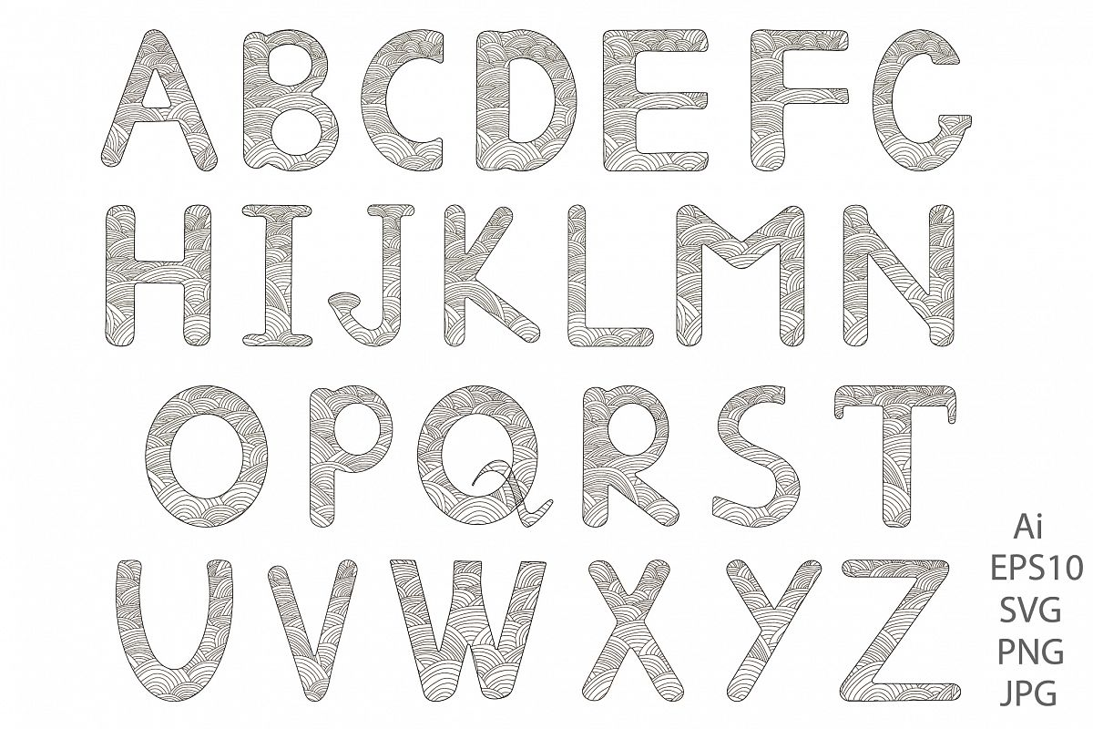 Alphabet. Letters A-Z. Coloring. example image 1