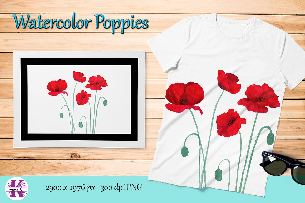 Watercolor Poppies Sublimation example image 1