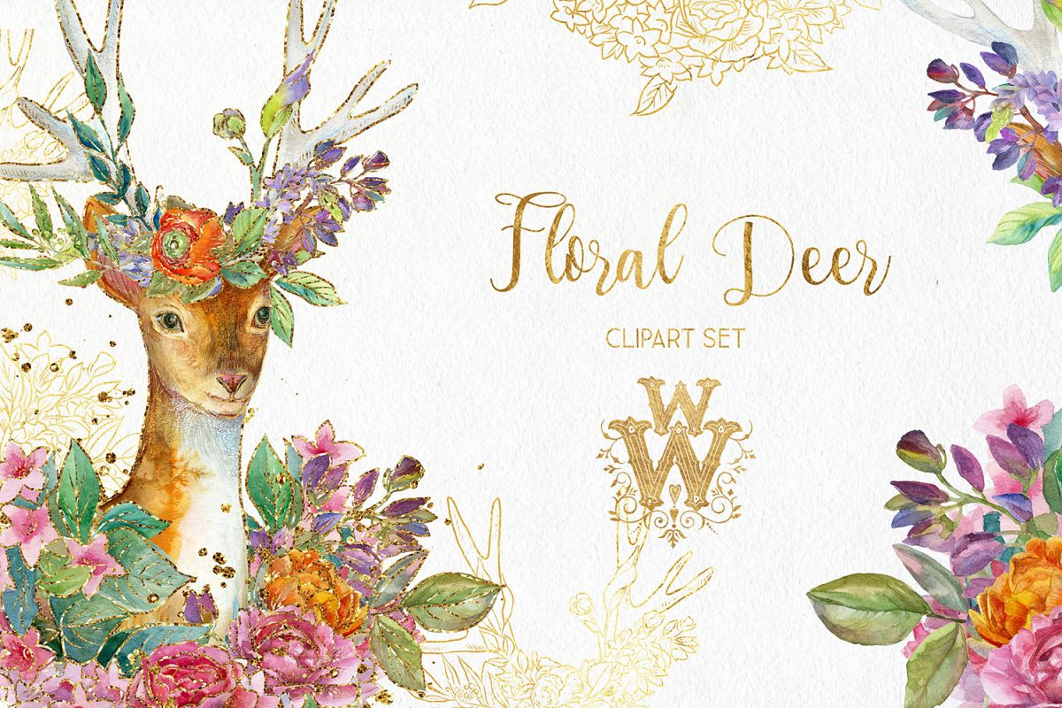 Watercolor floral deer printable clipart, golden graphics example image 1
