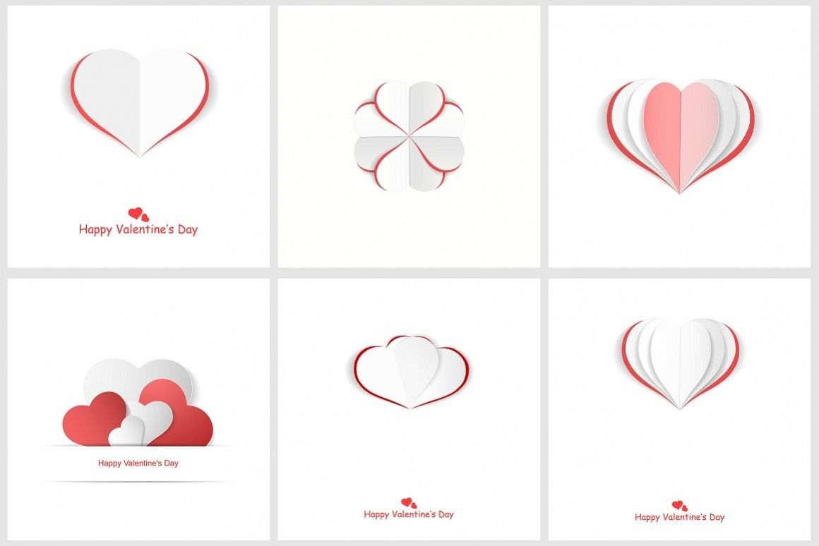 Valentine day postcards with hearts example image 1