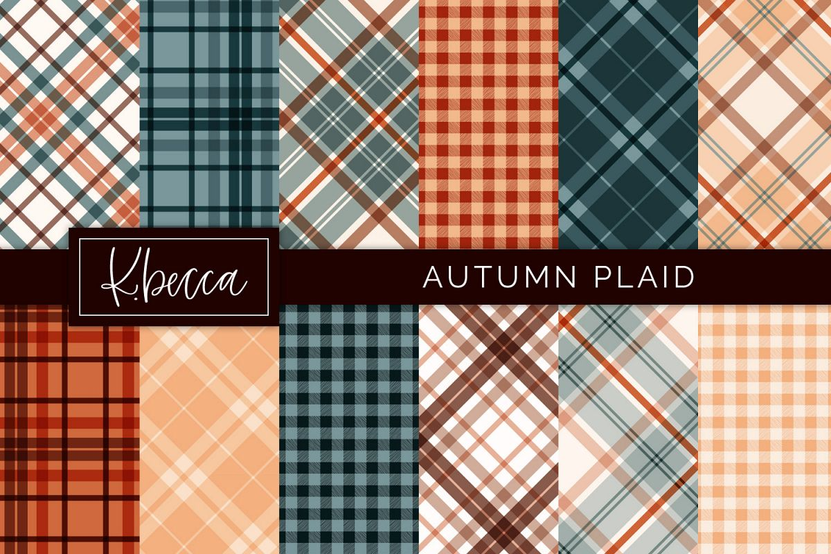 Autumn Fall Plaid Background Patterns Seamless example image 1