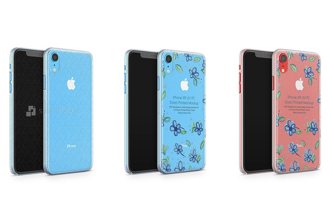 Apple iPhone XR UV PC Clear-Frosted Case Mockup 2018 example image 1