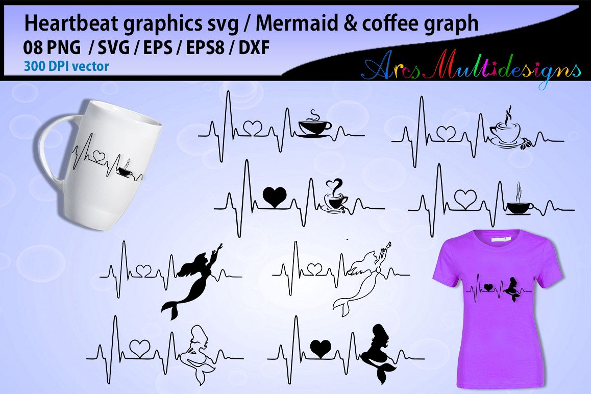 mermaid heart beat svg / coffee heart beat svg / heartbeat graphics and illustration / heartbeat graph SVG - vector example image 1