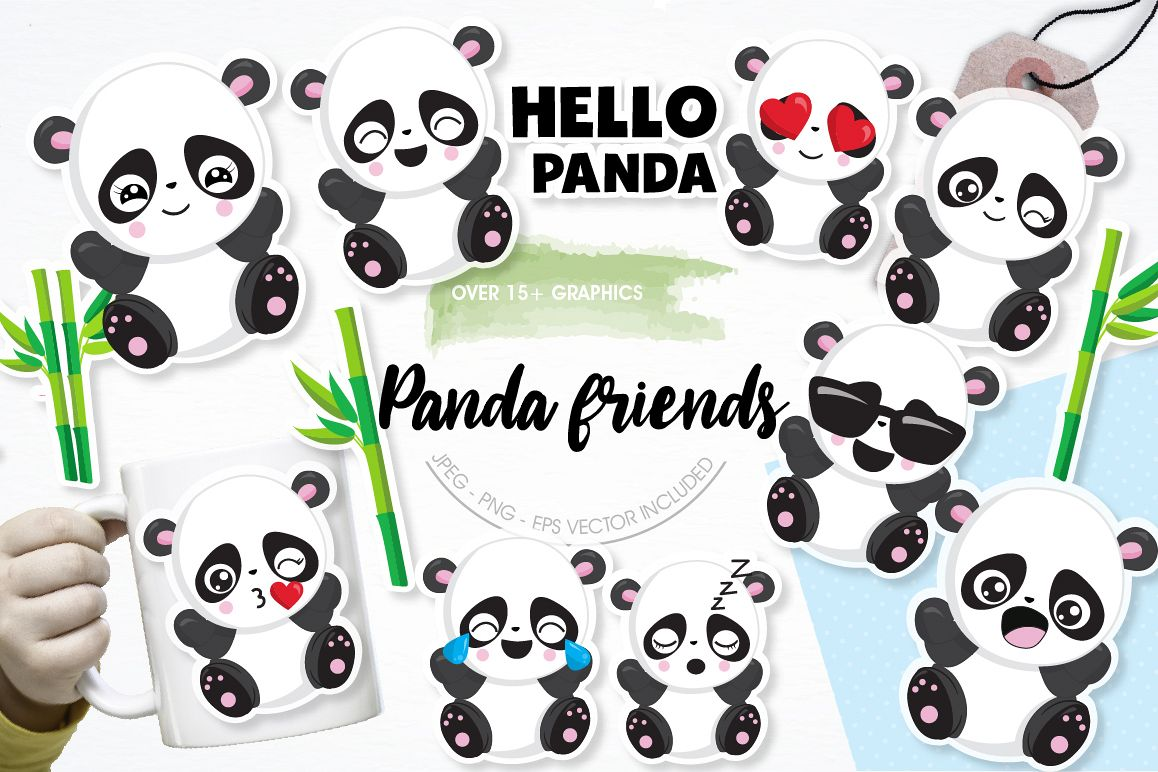 Panda friends graphics and illustrations example image 1