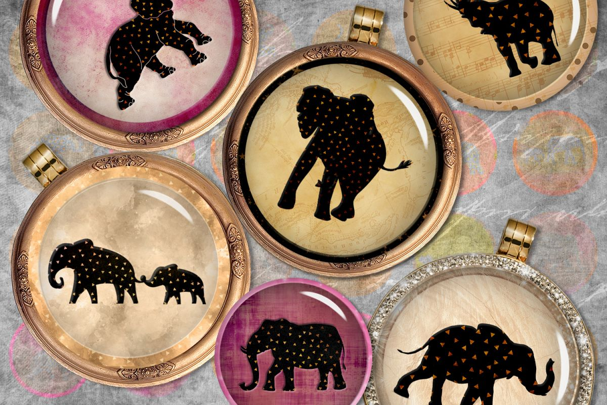 Elephants Digital Printable Sheet, Cabochon images, Rounds example image 1