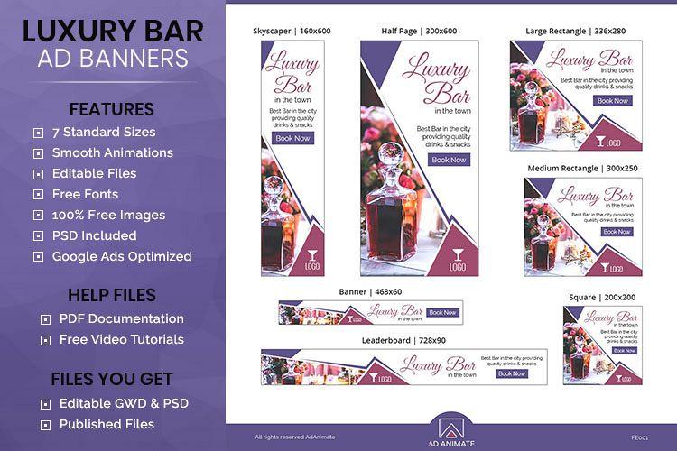 Food & Restaurant | Luxury Bar Animated Banner Ads - FR001