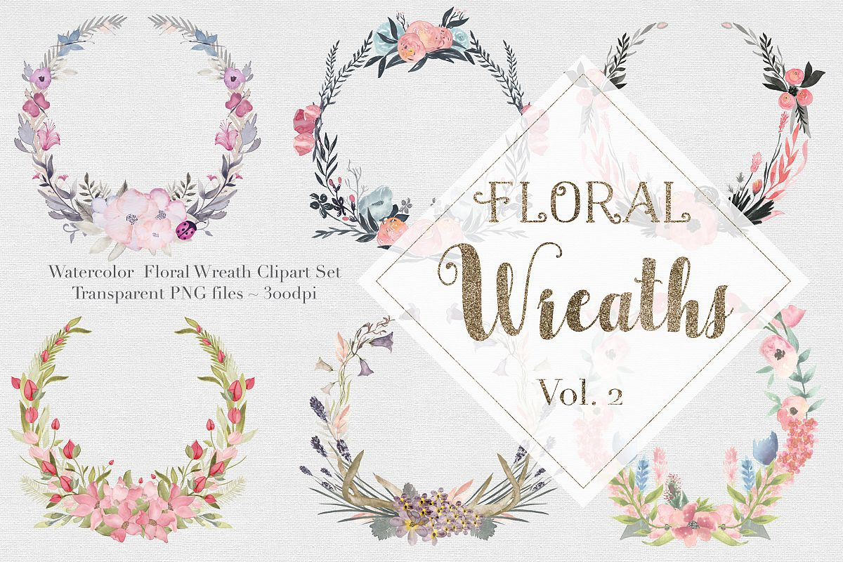 Watercolor Floral Wreaths Vol.2 example image 1