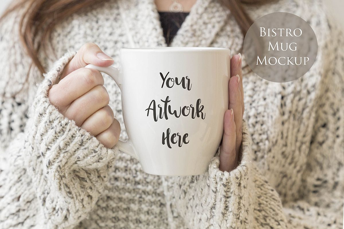 Bistro Mug Mockup - Woman holding mug example image 1