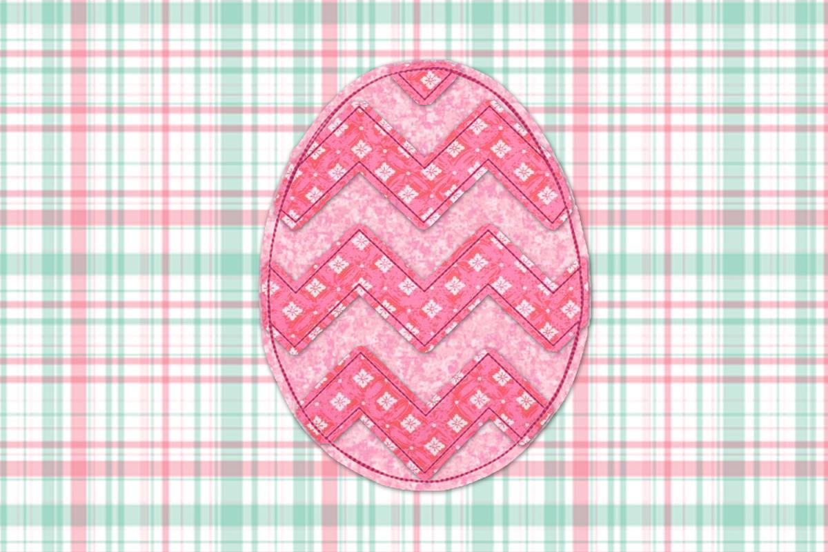 Raggy Chevron Easter Egg Applique Embroidery Design example image 1