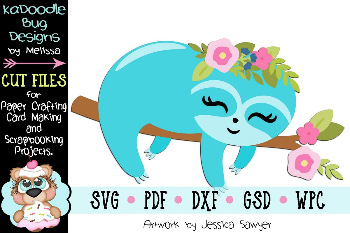 Easter Spring Relaxing Sloth Cut File - SVG PDF DXF GSD example image 1