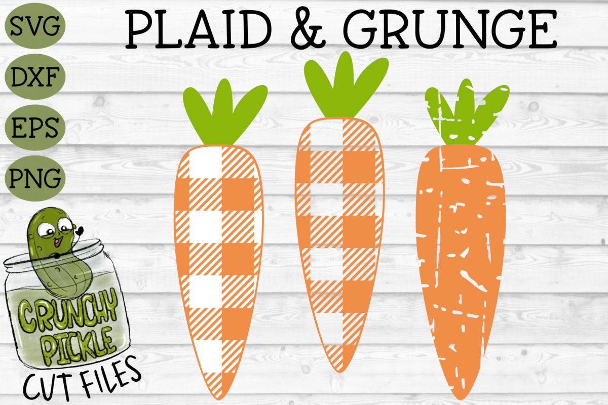 Plaid & Grunge Carrot Easter / Spring SVG Cut File example image 1