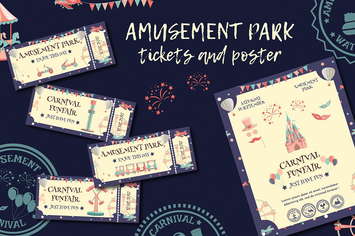 Amusement park tickets and poster. example image 1
