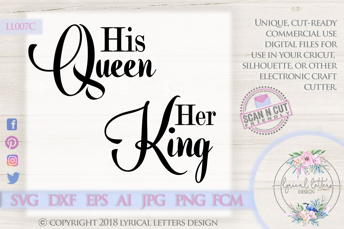 His Queen Her King Fairy Tale Wedding SVG DXF LL007C example image 1