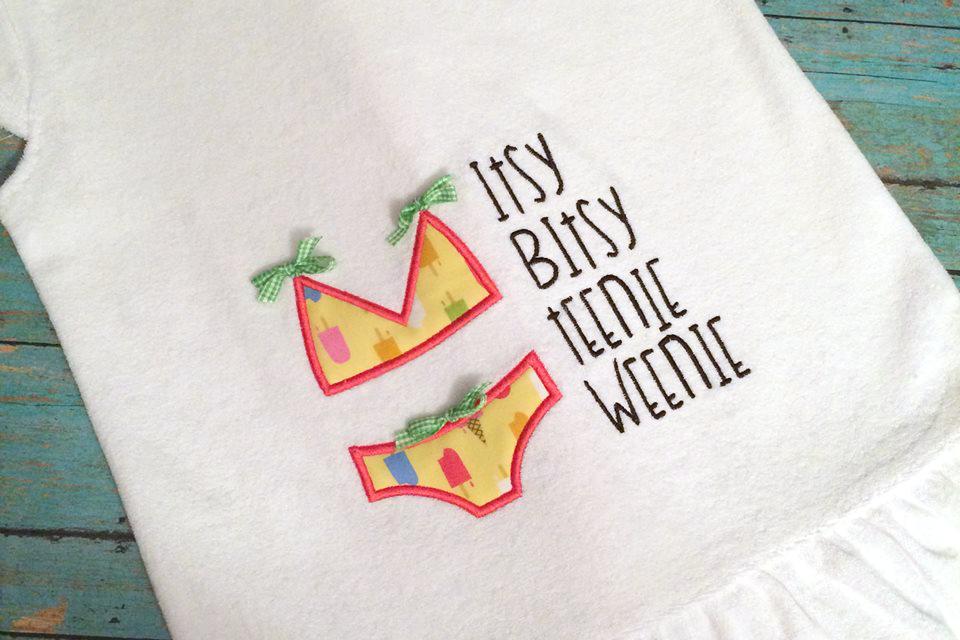Itsy Bitsy Bikini Applique Embroidery Design example image 1