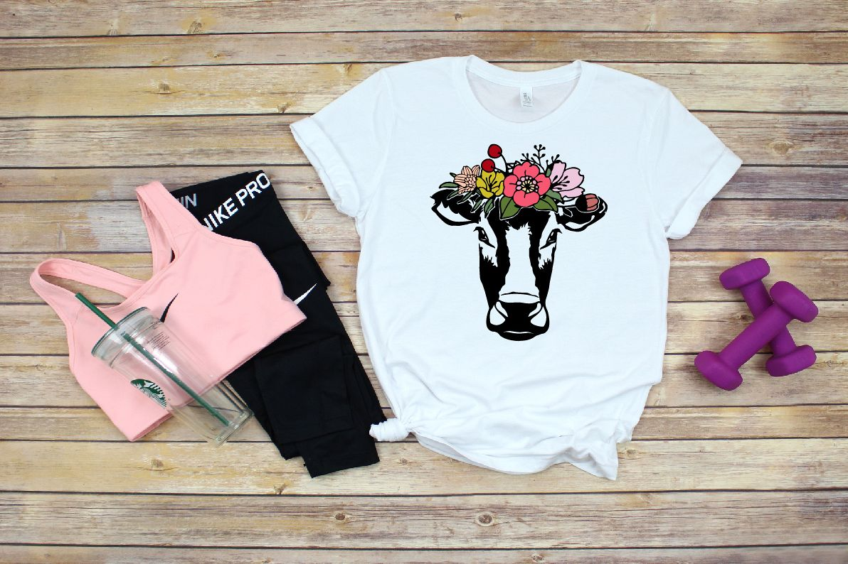 Bandanna Flower Heifer Cow SVG, Glitter farm cowboy 1320S example image 1
