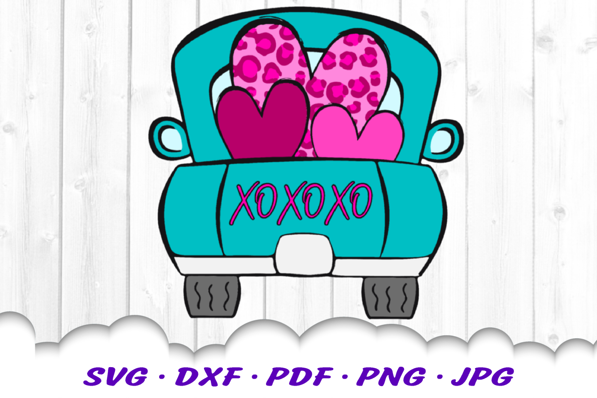 Valentines Truck Leopard Print Heart Sublimation PNG Design example image 1