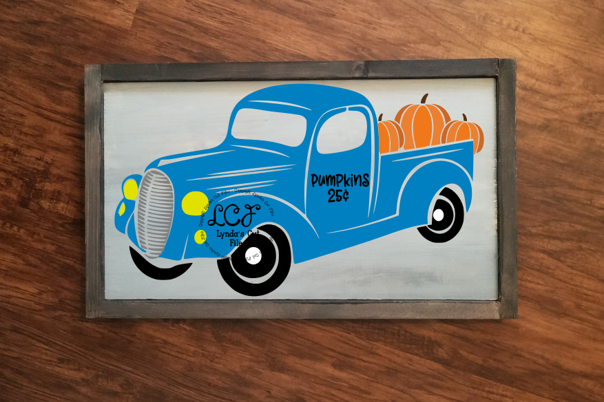 Fall Truck with Pumpkins//SVG//EPS//DXF example image 1