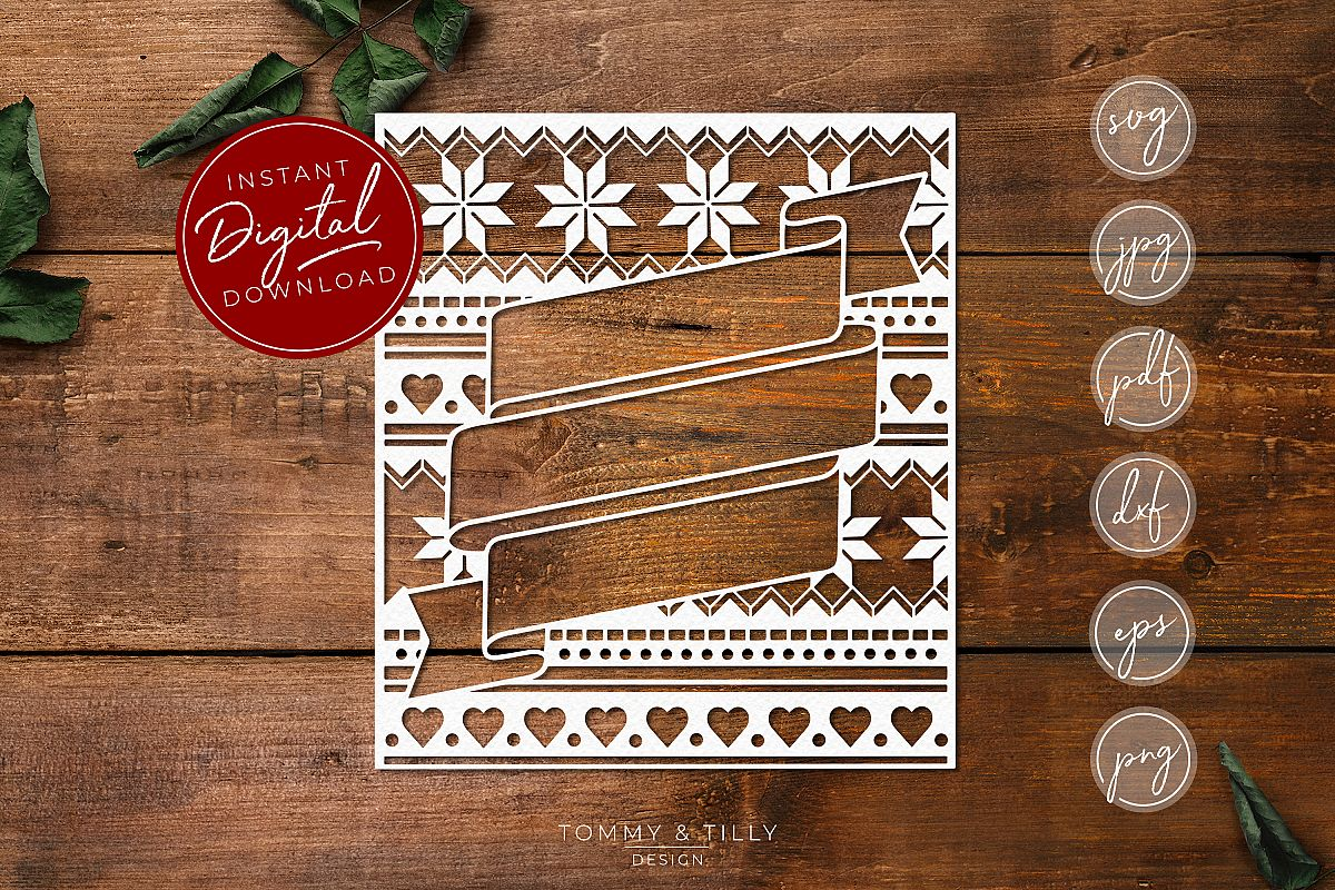 Christmas Pattern Banner - SVG EPS DXF PNG PDF JPG Cut File example image 1