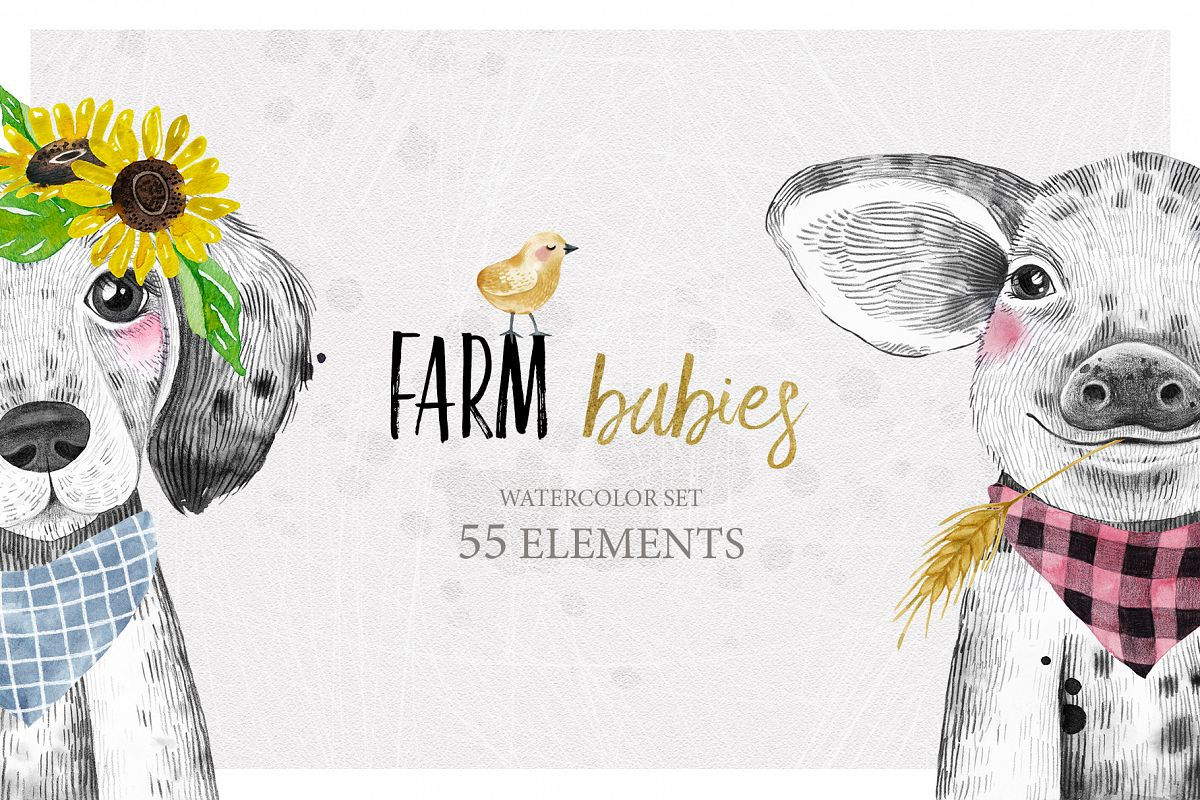 FARM BABIES watercolor set example image 1