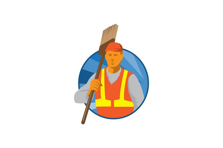janitor cleaner sweeper with broom retro example image 1