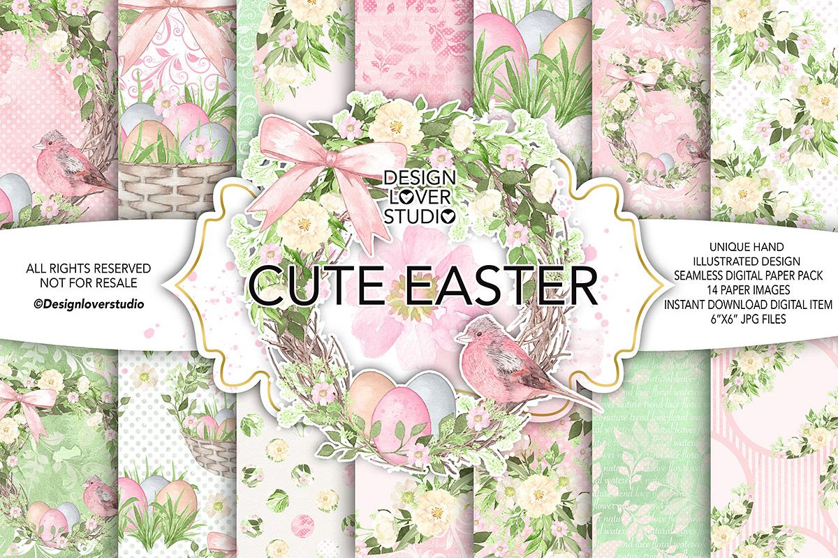 Watercolor Cute easter DP pack 1 example image 1