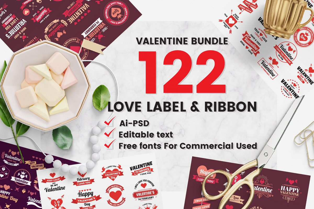 122 LOVE LABEL & RIBBON example image 1