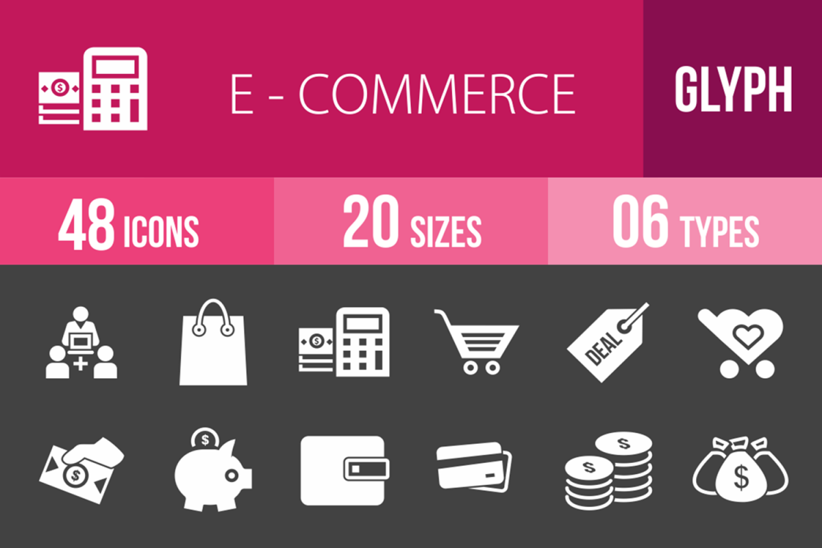 48 Ecommerce Glyph Inverted Icons example image 1