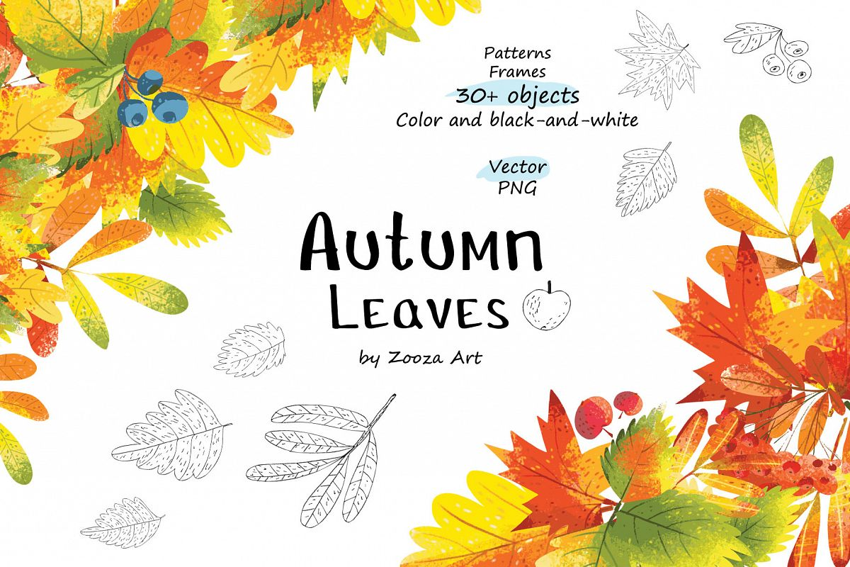Autumn Leaves - over 30 objects, frames, patterns example image 1