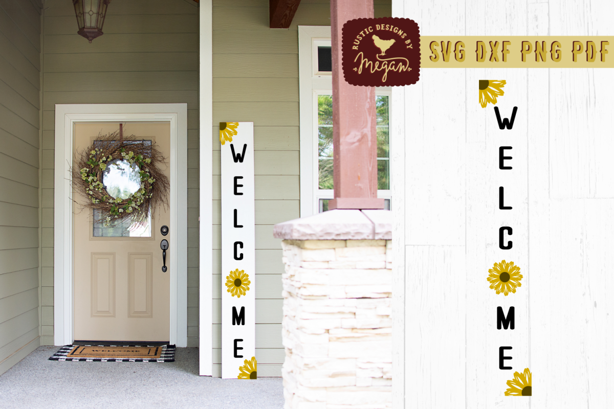 Welcome Front Porch Summer Sunflower SVG DXF example image 1