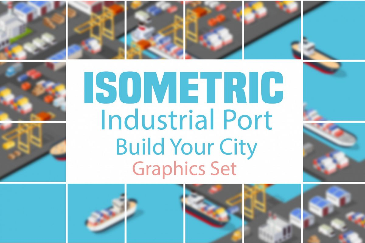 Isometric port cargo ship example image 1