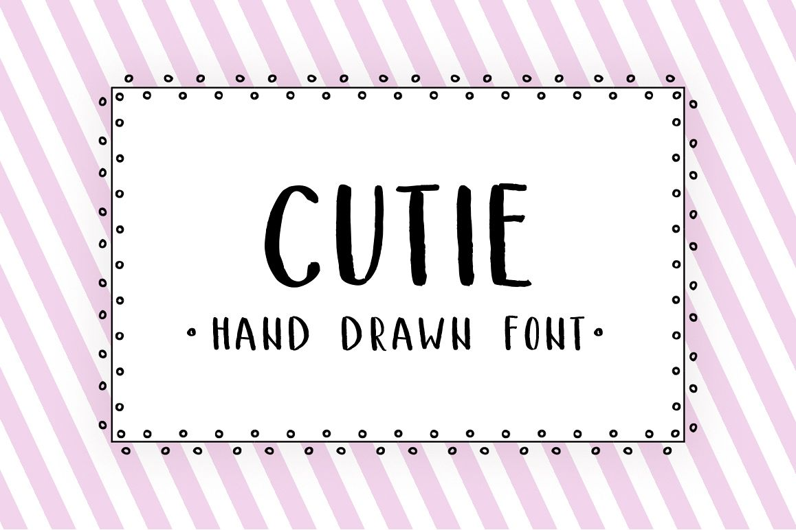 Cutie - hand drawn font example image 1